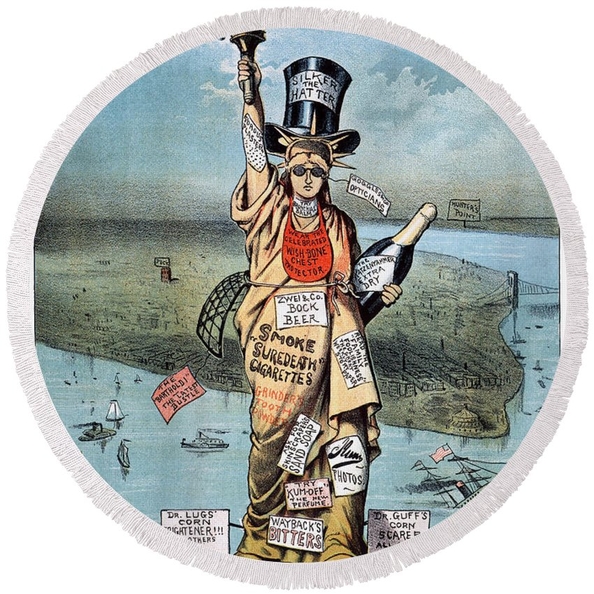 19th Century Round Beach Towel featuring the photograph Statue Of Liberty Cartoon by Granger