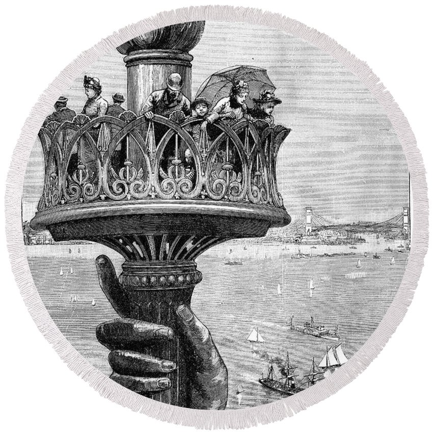 1890s Round Beach Towel featuring the photograph Statue Of Liberty: Torch by Granger