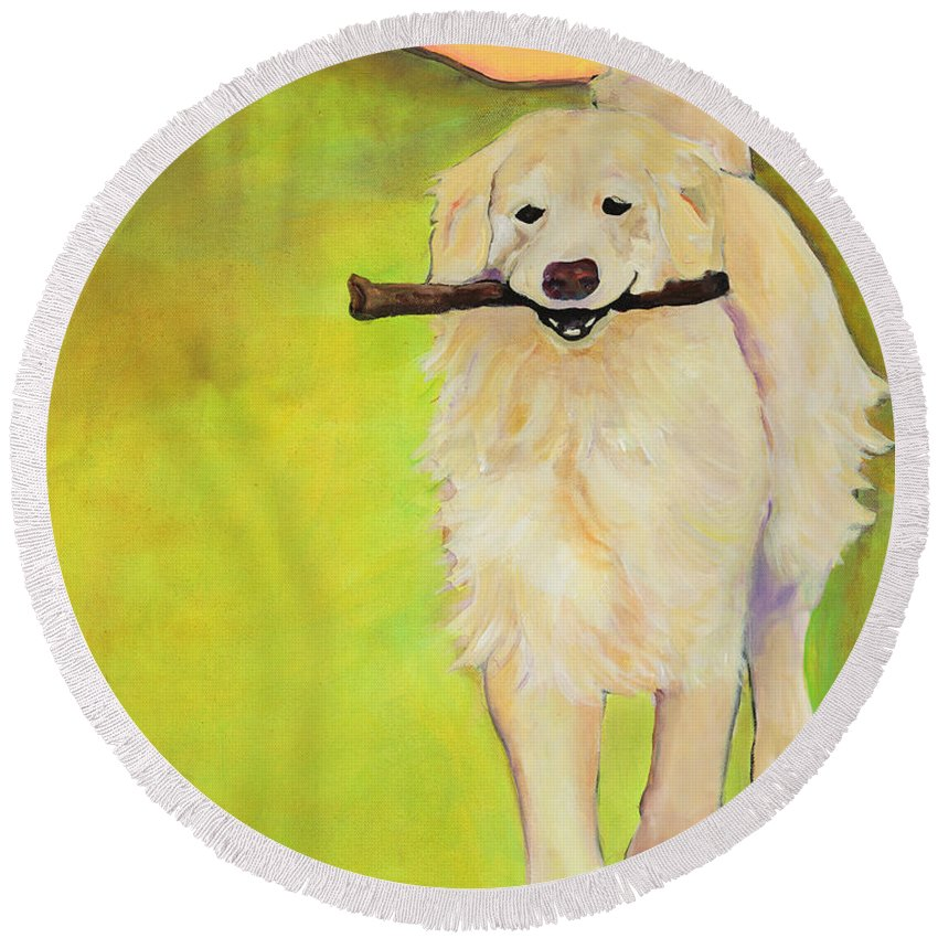 Dog Portraits Round Beach Towel featuring the painting Stick Together by Pat Saunders-White