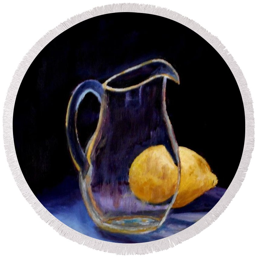 Still Life Round Beach Towel featuring the painting Still Life by Konstantinos Charalampopoulos