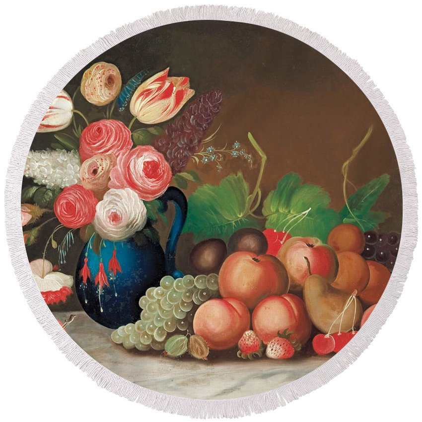 Fruit Round Beach Towel featuring the painting Still Life With Fruit And Flowers by William Buelow Gould