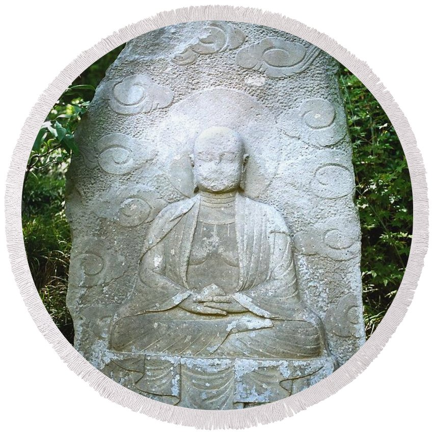 Stone Round Beach Towel featuring the photograph Stone Buddha by Dean Triolo