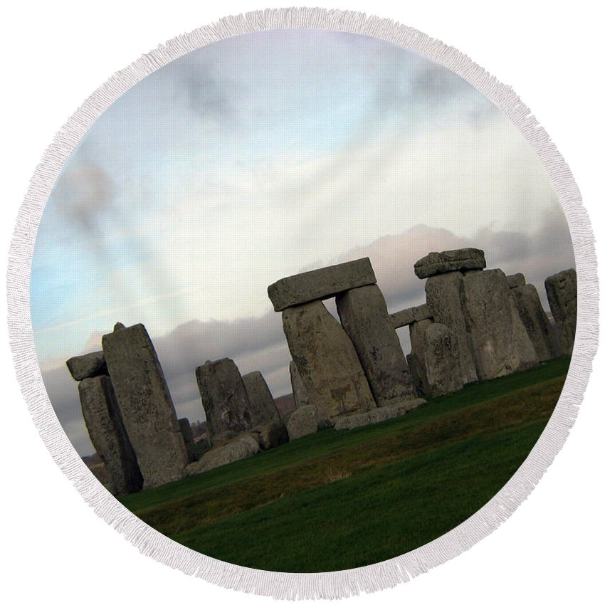 Stonehenge Round Beach Towel featuring the photograph Stonehenge by Amanda Barcon