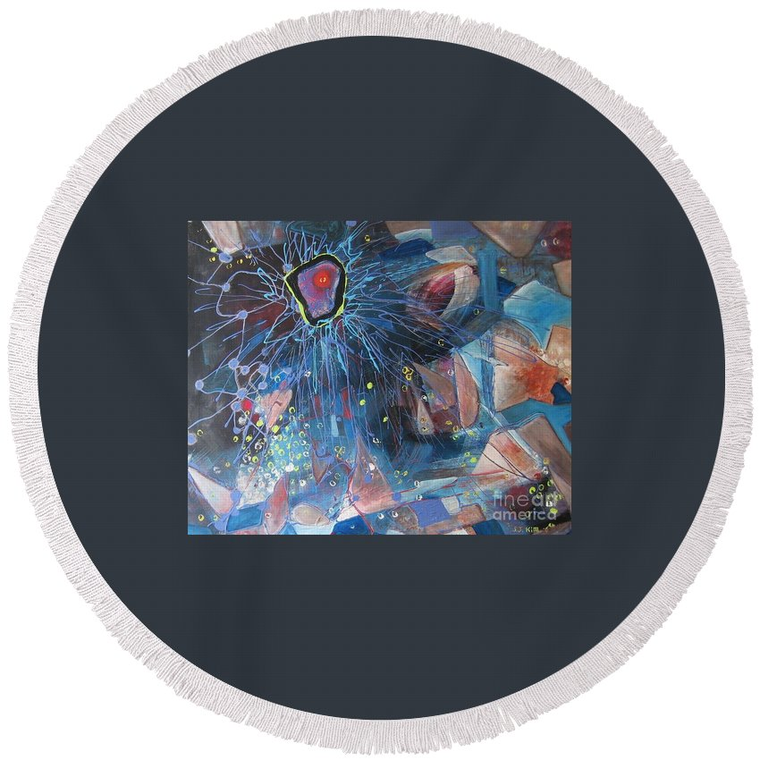 Abstract Paintings Round Beach Towel featuring the painting Storm At Sea by Seon-Jeong Kim