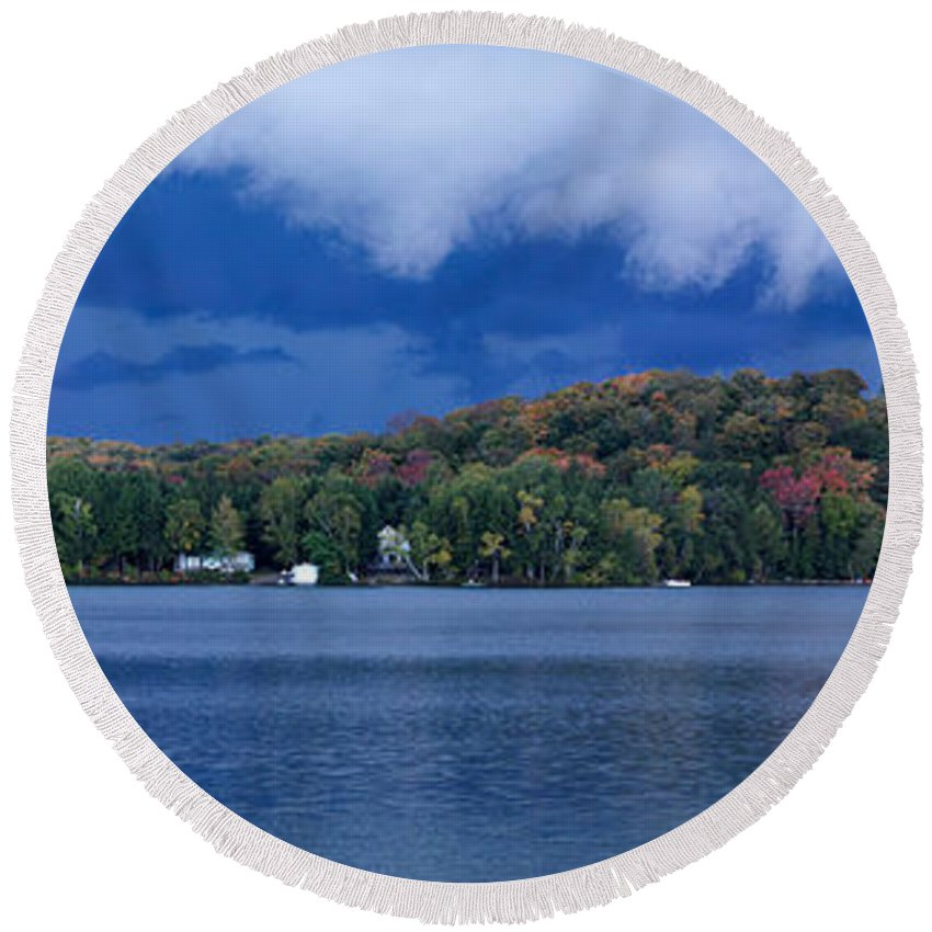 Lake Round Beach Towel featuring the photograph Storm Clouds Over The Lake Of Bays by Oleksiy Maksymenko