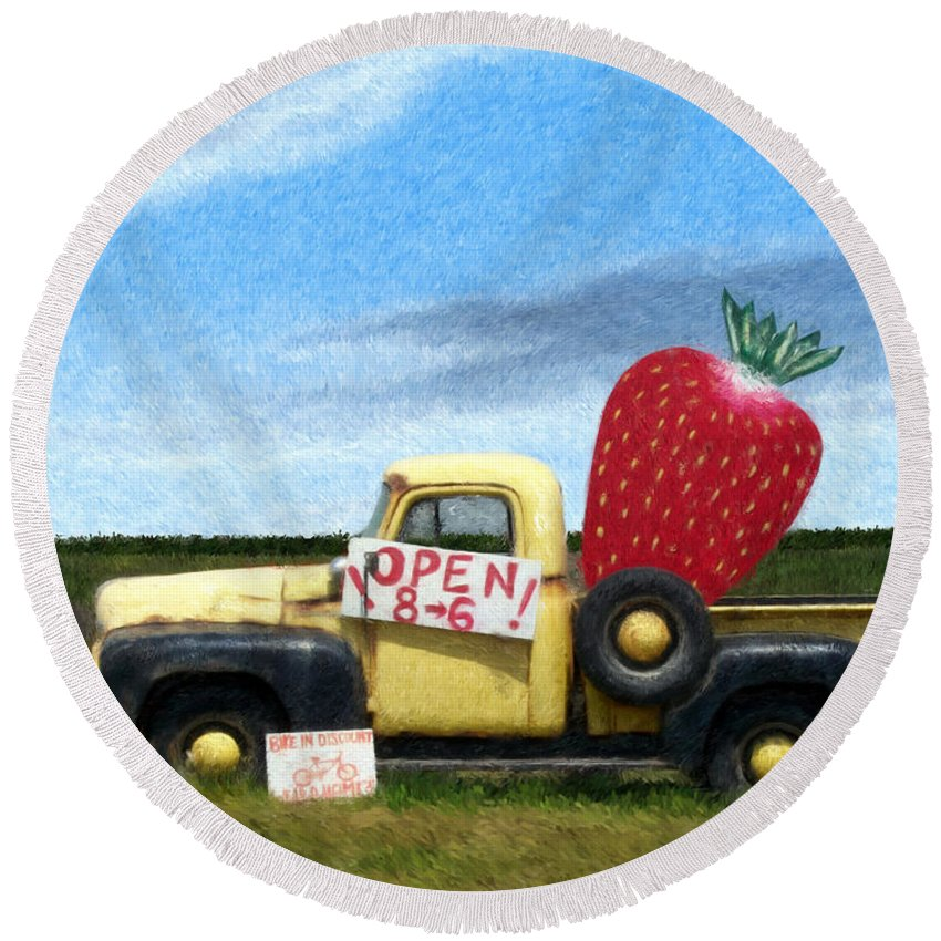 Landscape Round Beach Towel featuring the digital art Strawberry Truck by Snake Jagger