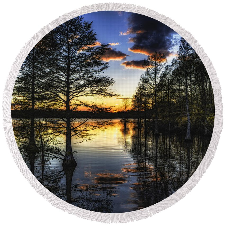 Virginia Round Beach Towel featuring the photograph Stumpy Sunset by Pete Federico