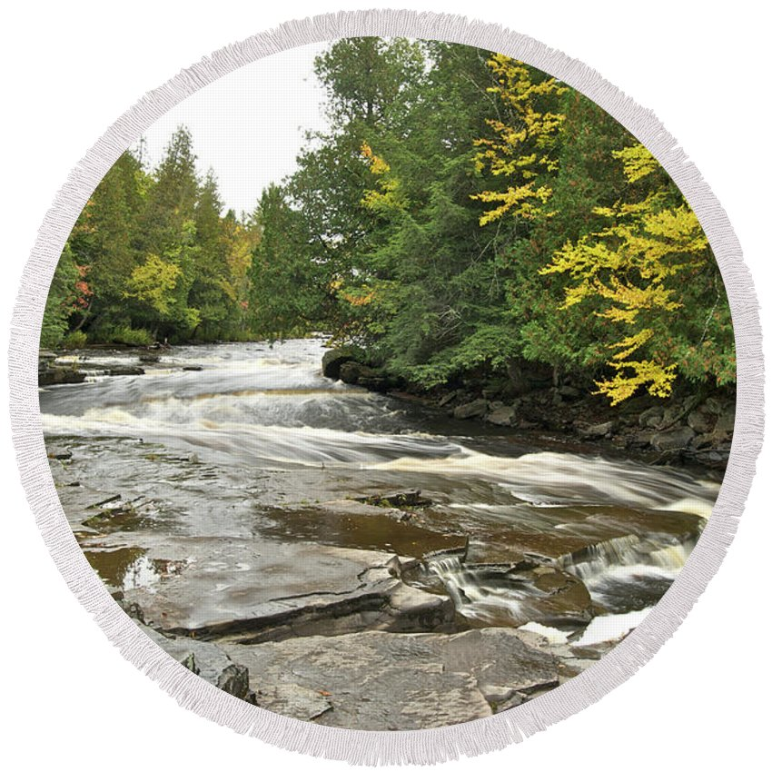 Michigan Round Beach Towel featuring the photograph Sturgeon River by Michael Peychich