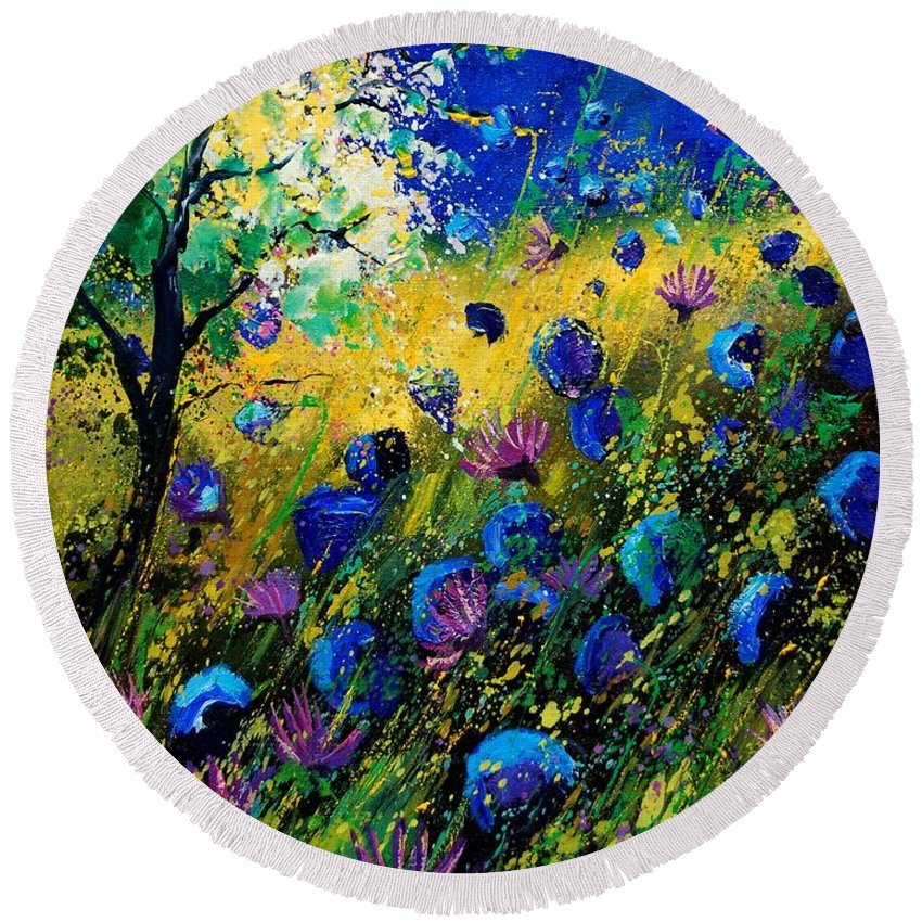Poppies Round Beach Towel featuring the painting Summer 450208 by Pol Ledent