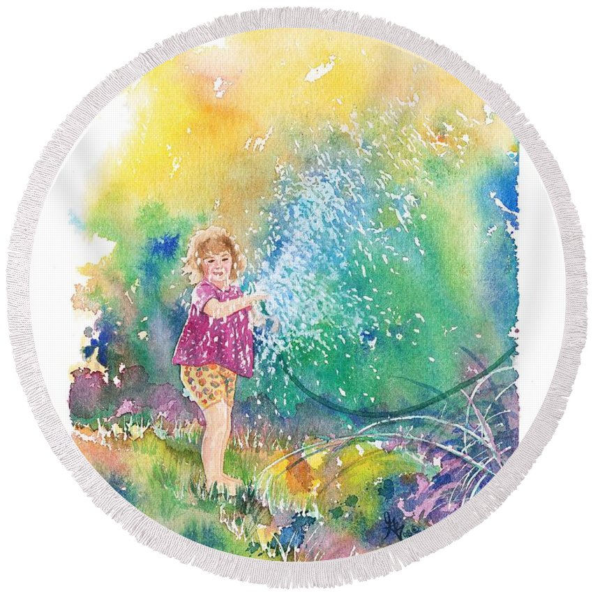 Children Round Beach Towel featuring the painting Summer Fun by Gale Cochran-Smith