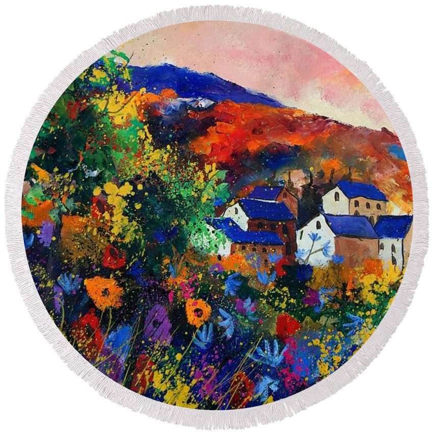 Landscape Round Beach Towel featuring the painting Summer by Pol Ledent