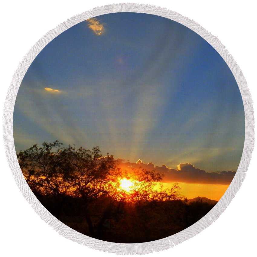 Desert Round Beach Towel featuring the photograph Sun Rays At Sunset With Tree And Saguaro by Teresa Stallings