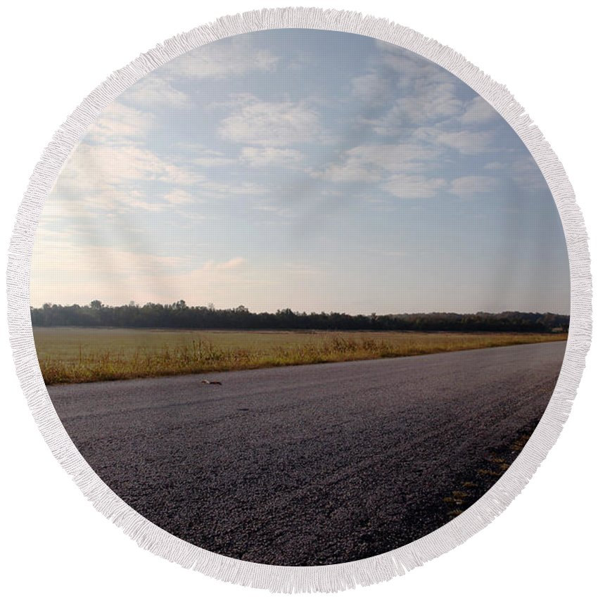 Streets Round Beach Towel featuring the photograph Sunday Drive by Amanda Barcon
