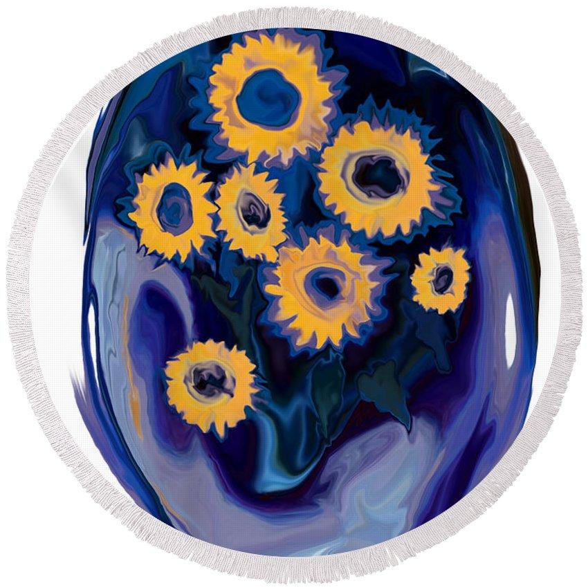 Art Round Beach Towel featuring the digital art Sunflower 1 by Rabi Khan