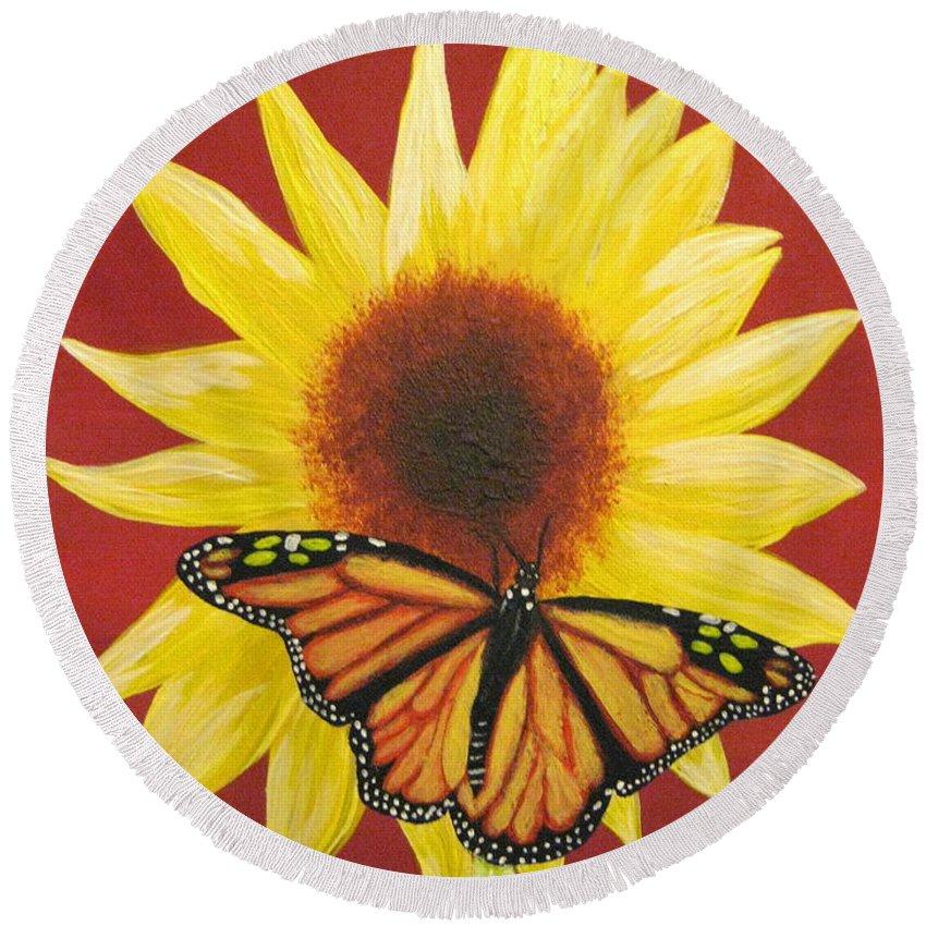 Sunflower Round Beach Towel featuring the painting Sunflower Monarch by Debbie Levene
