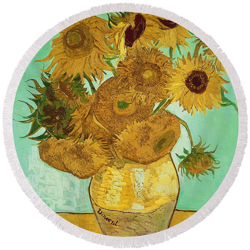 Sunflowers Round Beach Towel featuring the painting Sunflowers By Van Gogh by Vincent Van Gogh