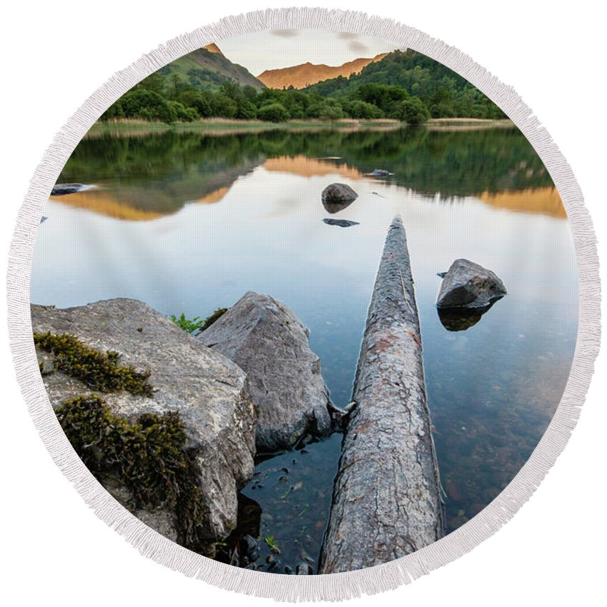 Landscape Round Beach Towel featuring the photograph Sunrise at Ullswater, Lake District, North West England by Anthony Lawlor