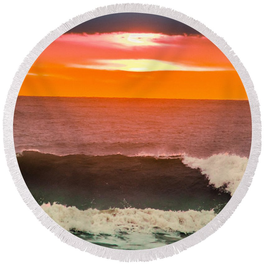 America Round Beach Towel featuring the photograph Sunrise Kissing Surf by Michael Goodin