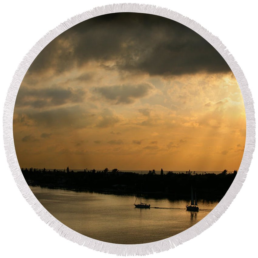Photograph Round Beach Towel featuring the photograph Sunset At Pass A Grille Florida by Mal Bray