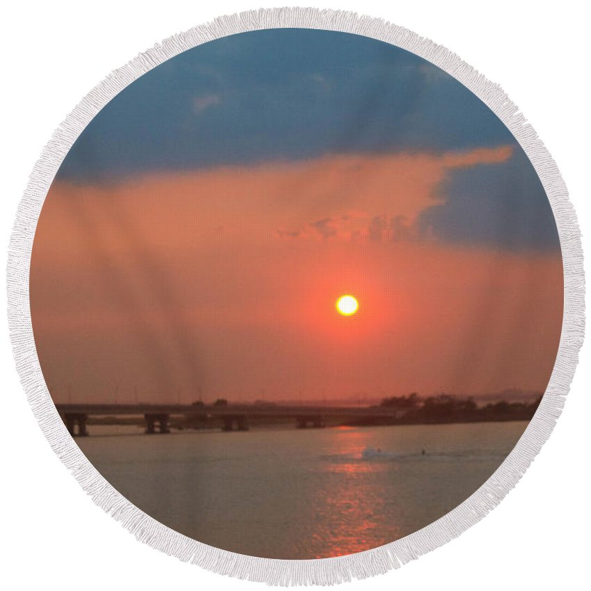 Sunset Round Beach Towel featuring the photograph Sunset by Chris Baboolal