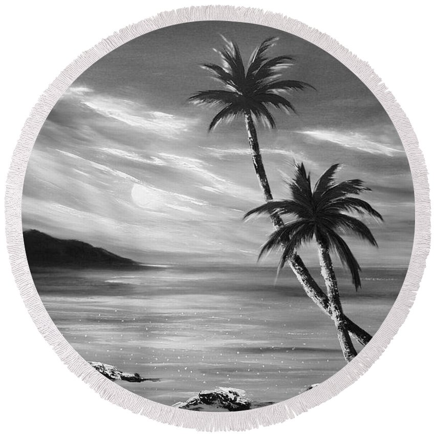 Sunset Round Beach Towel featuring the painting Sunset in Paradise by Gina De Gorna