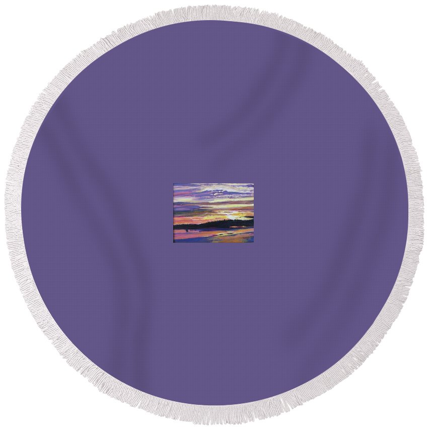 Sunset Round Beach Towel featuring the painting Sunset by Richard Nowak