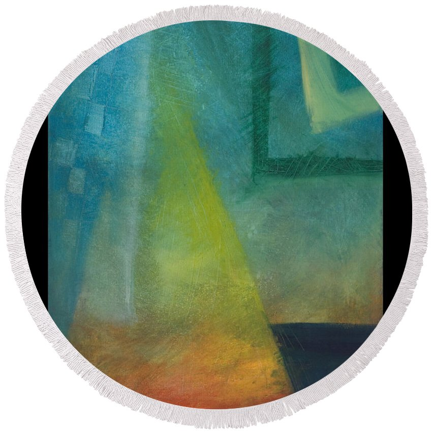 Sunset Round Beach Towel featuring the painting Sunset Sail by Tim Nyberg