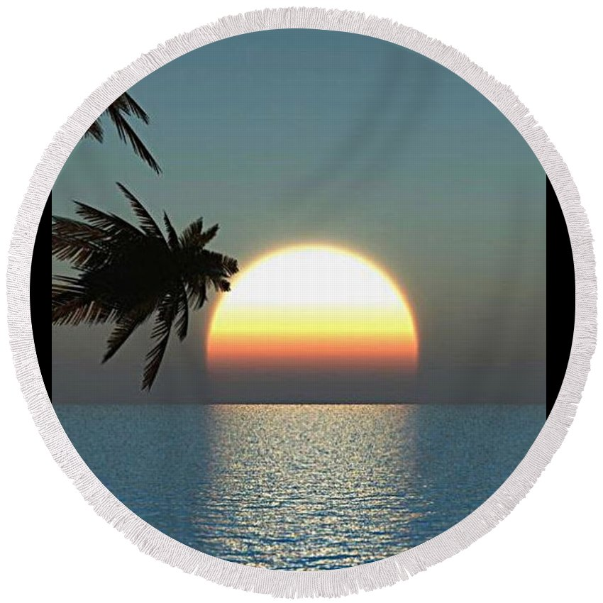 Beach Water Sunset Round Beach Towel featuring the photograph Sunset by Sarah Waldman