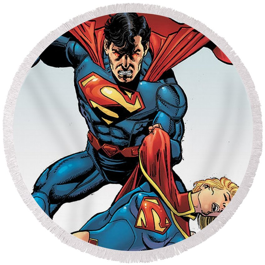 Superman Round Beach Towel featuring the digital art Superman by Zia Low