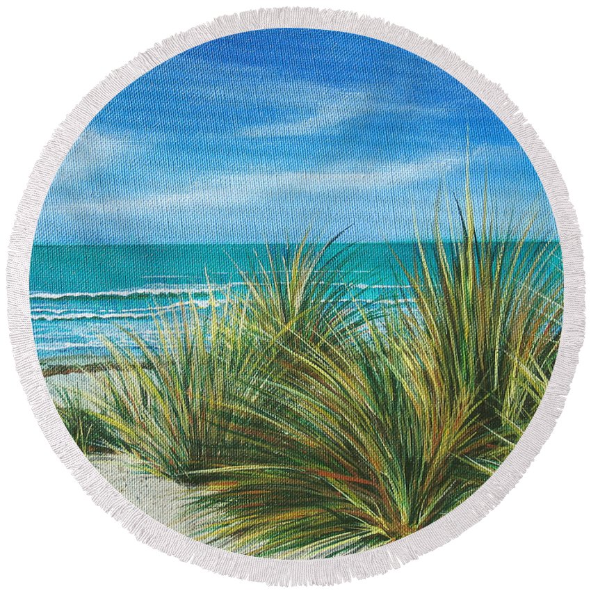 Sea Grass Round Beach Towel featuring the painting Surf Beach by Angie Hamlin