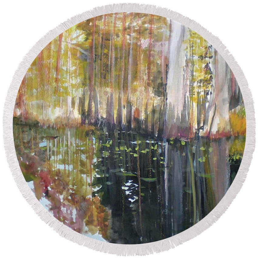 Landscape Of A South Florida Swamp At Dusk Feels Very Wild Round Beach Towel featuring the painting Swamp Reflection by Hal Newhouser