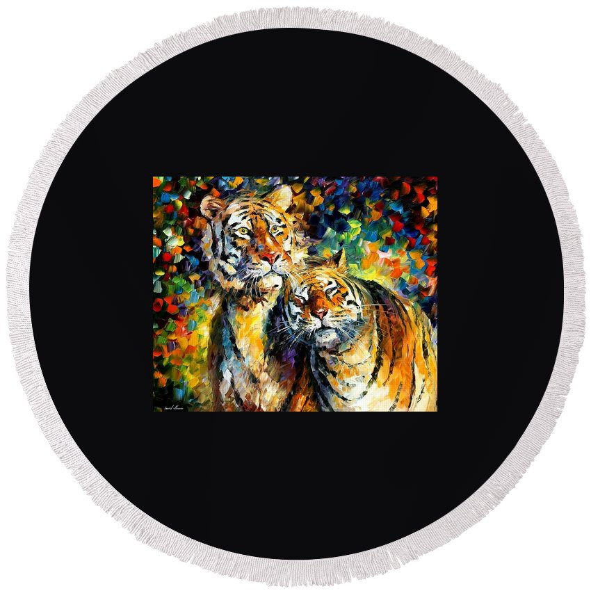 Afremov Round Beach Towel featuring the painting Sweetness by Leonid Afremov