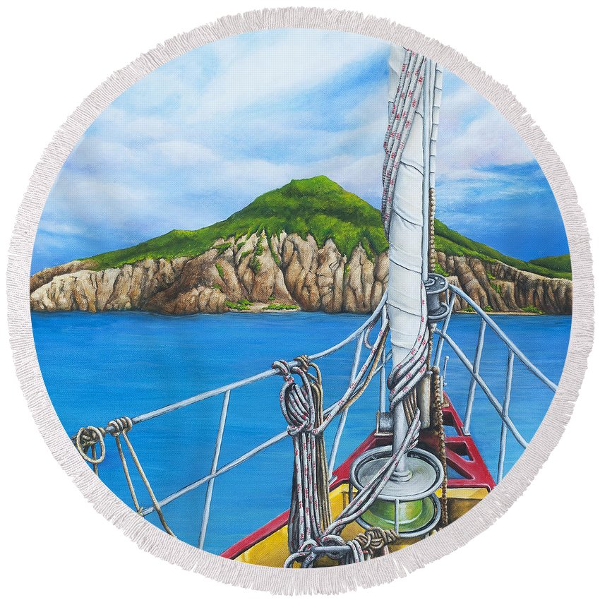 Sint Maarten Round Beach Towel featuring the painting Take Me To Saba by Cindy D Chinn