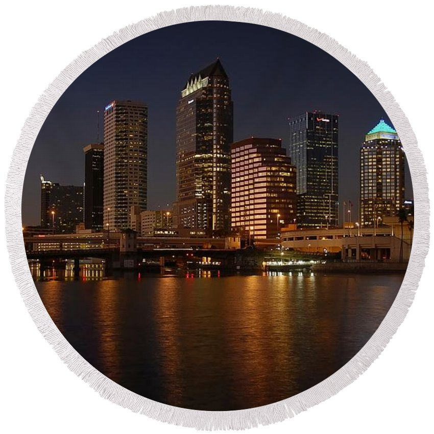 Tampa Round Beach Towel featuring the photograph Tampa Florida by David Lee Thompson