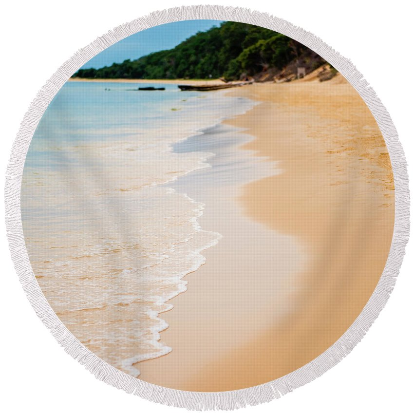 Background Round Beach Towel featuring the photograph Tangalooma Island Beach In Moreton Bay. by Rob D