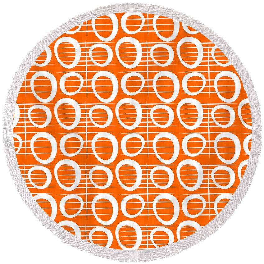 Orange Round Beach Towel featuring the mixed media Tangerine Loop by Linda Woods