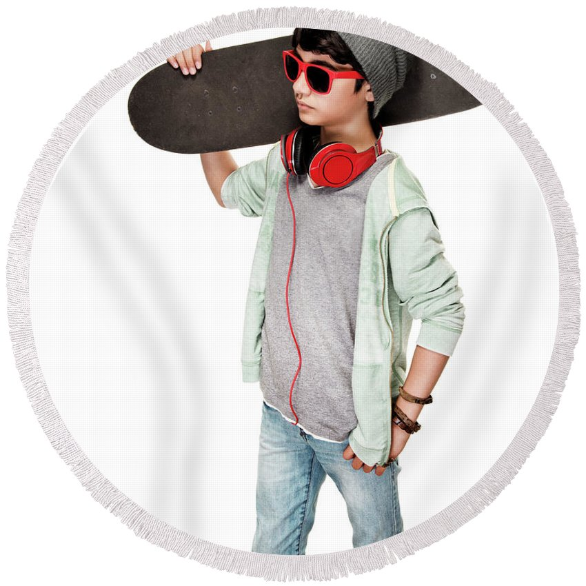 Active Round Beach Towel featuring the photograph Teen Boy With Skateboard by Anna Om