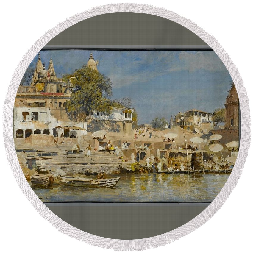 Edwin Lord Weeks (american Round Beach Towel featuring the painting Temples And Bathing Ghat by Edwin Lord