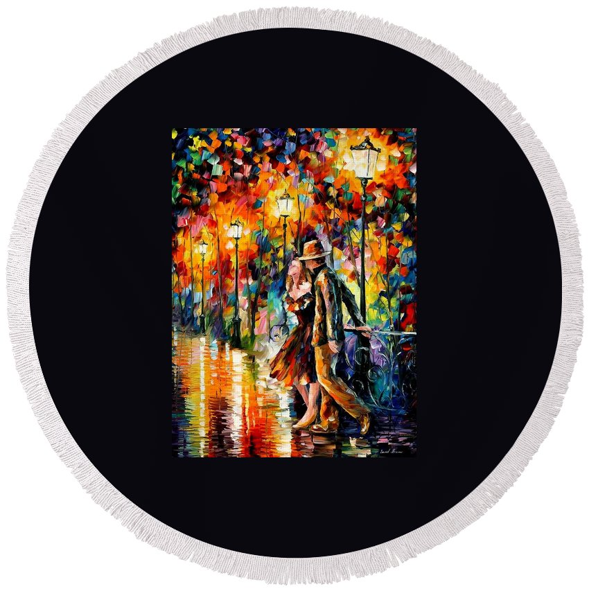 Afremov Round Beach Towel featuring the painting Tempter by Leonid Afremov