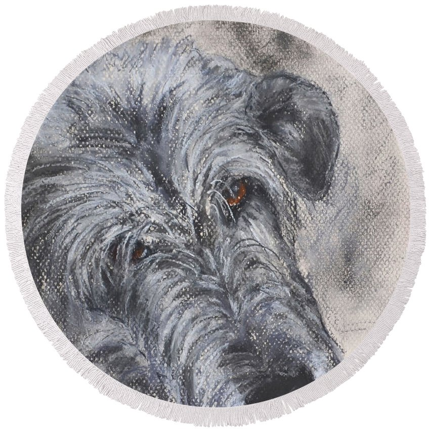 Dog Round Beach Towel featuring the drawing Tender Moments by Cori Solomon
