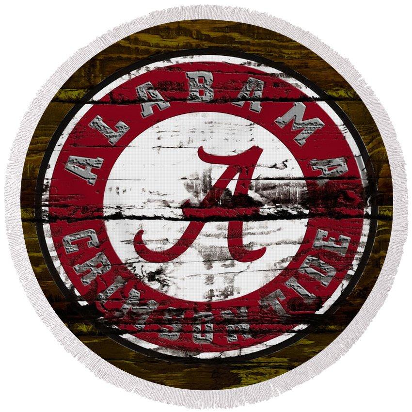 The Alabama Crimson Tide Round Beach Towel featuring the mixed media The Alabama Crimson Tide by Brian Reaves