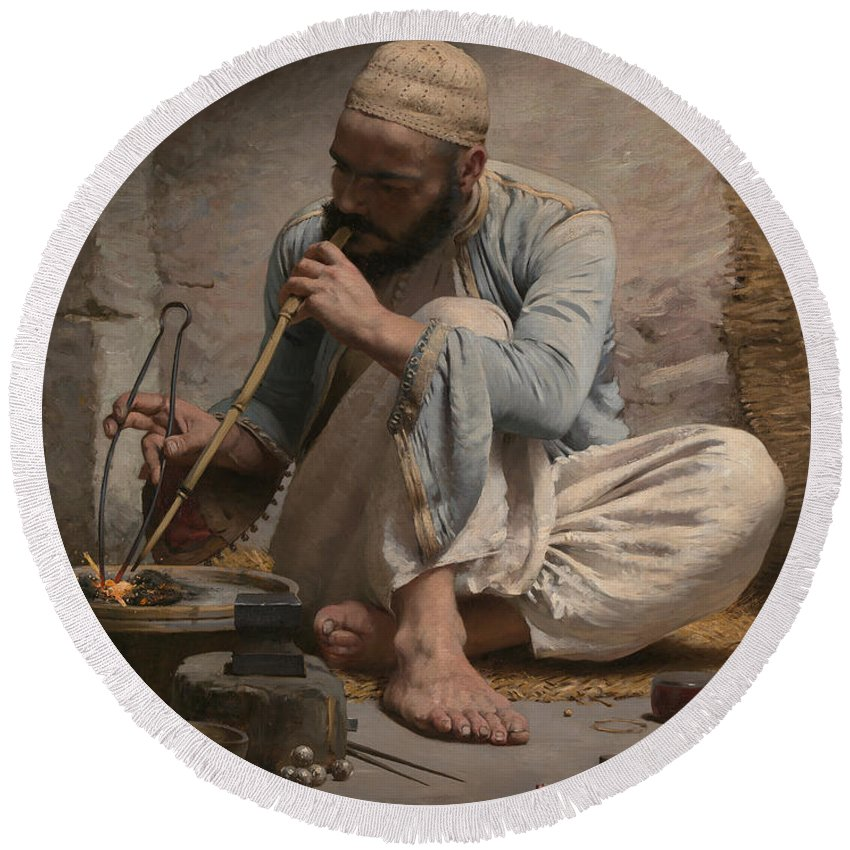 Charles Sprague Pearce Round Beach Towel featuring the painting The Arab Jeweler by Charles Sprague Pearce