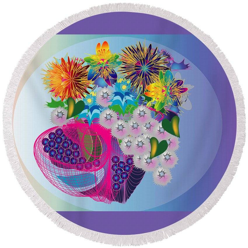 Flowers Round Beach Towel featuring the digital art The Arrangement by George Pasini