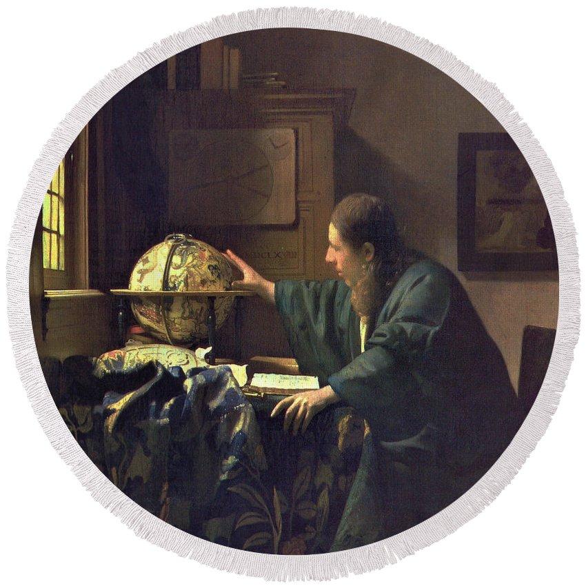 Jan Vermeer Round Beach Towel featuring the painting The Astronomer by Jan Vermeer