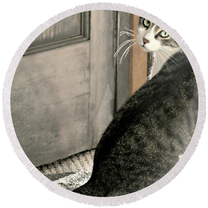 Animal Round Beach Towel featuring the photograph The Back Door by Diana Angstadt