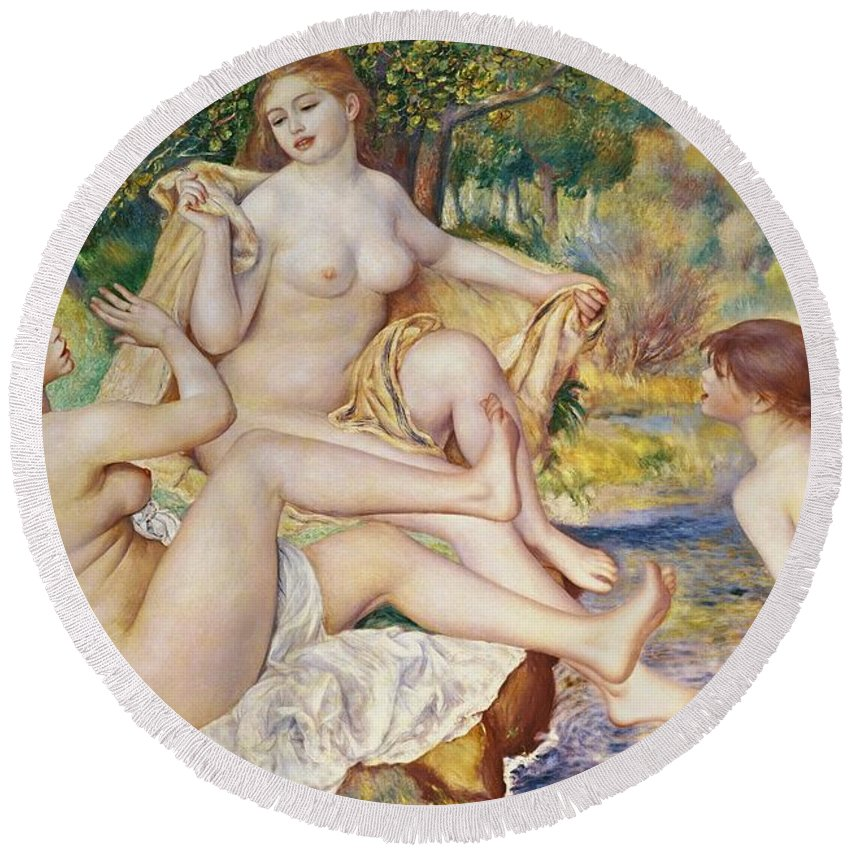 The Round Beach Towel featuring the painting The Bathers 1 by Pierre Auguste Renoir