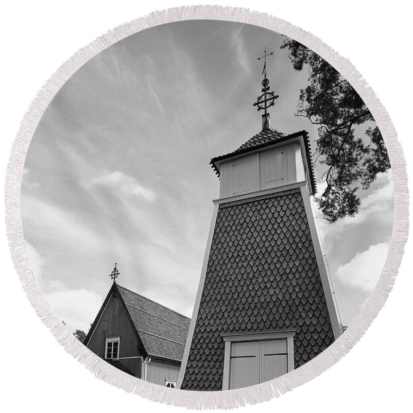 Finland Round Beach Towel featuring the photograph The Bellfry And The Church Of Kustavi by Jouko Lehto