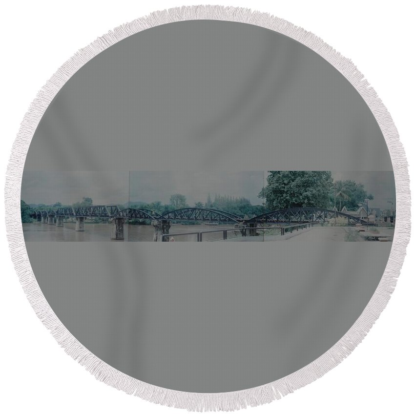 Bridge Round Beach Towel featuring the photograph The Bridge On The River Kwai by Rob Hans