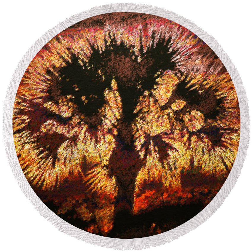 Art Round Beach Towel featuring the painting The Burning Bush by David Lee Thompson