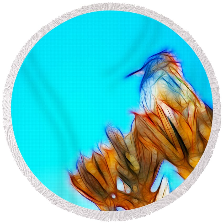 Fine Art Round Beach Towel featuring the photograph The Cactus Wren by Donna Greene